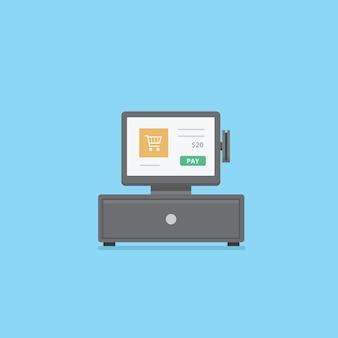 Caja registradora digital con recibo y cajón de dinero