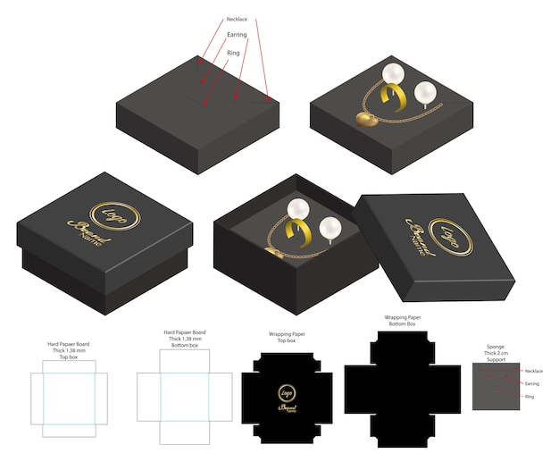 Caja rígida para maqueta de anillo de pendiente de anillo de collar