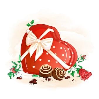 Una caja roja de bombones en forma de corazón atado con un lazo y dos bombones, granos de café y rosas.