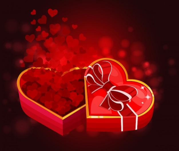 Caja roja con corazones en forma de corazón
