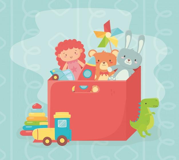 Caja roja llena muñeca conejo oso cohete viento juego juguetes