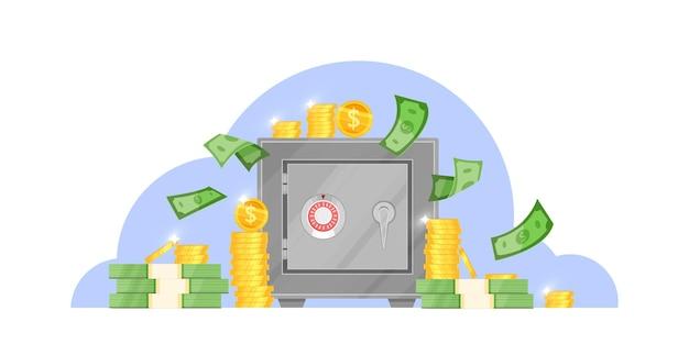 Caja de seguridad bancaria con billetes voladores, monedas de un dólar apiladas, puerta cerrada con cerradura segura.
