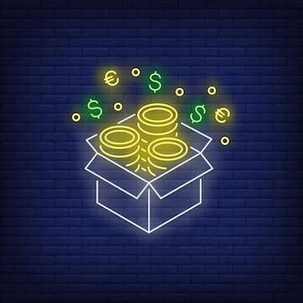 Caja con signo de neón de monedas de oro.