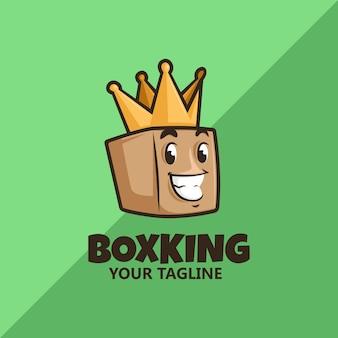 Caja sonriente con corona. logotipo de king box. logotipo de entrega. logotipo de ahorro.