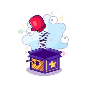 Caja sorpresa con guante de boxeo rojo para la ilustración del día de los tontos en estilo de dibujos animados planos