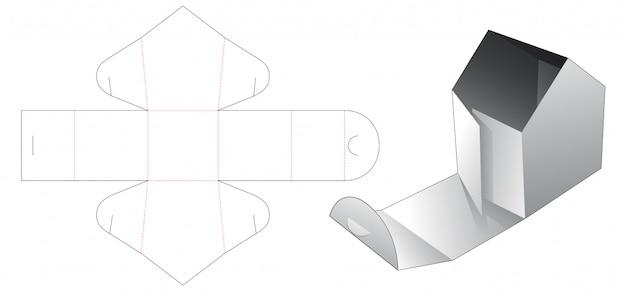 Caja superior de punto de apertura en forma de casa con plantilla troquelada con asa