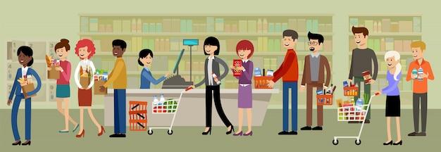 Caja en un supermercado y personas con compras.