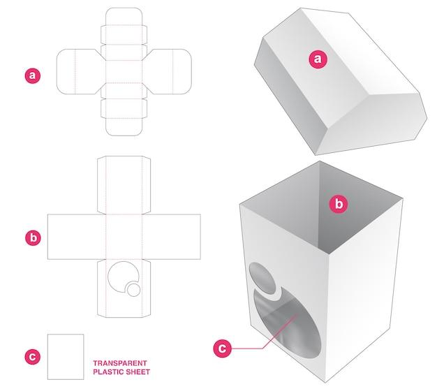 Caja con tapa biselada y ventanas circulares con plantilla troquelada de lámina de plástico transparente