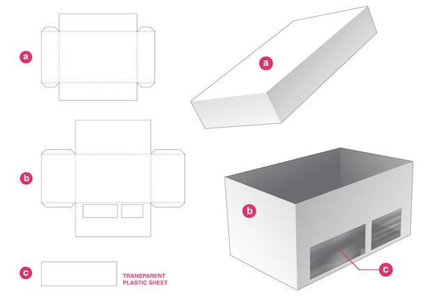 Caja con tapa y ventana con plantilla troquelada de lámina de plástico transparente