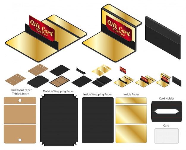 Caja de tarjeta de regalo empaquetado troquelado diseño de plantilla.