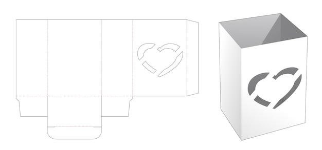Caja de tazón con plantilla troquelada de ventana de corazón