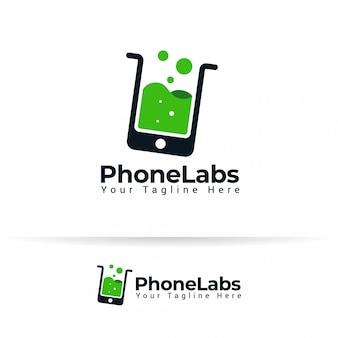 Caja del teléfono gadget teléfono inteligente accesorios laboratorio laboratorio tubo líquido logotipo. vector