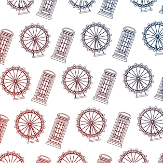 Caja de teléfono inglés y rueda patrón de ojo de londres