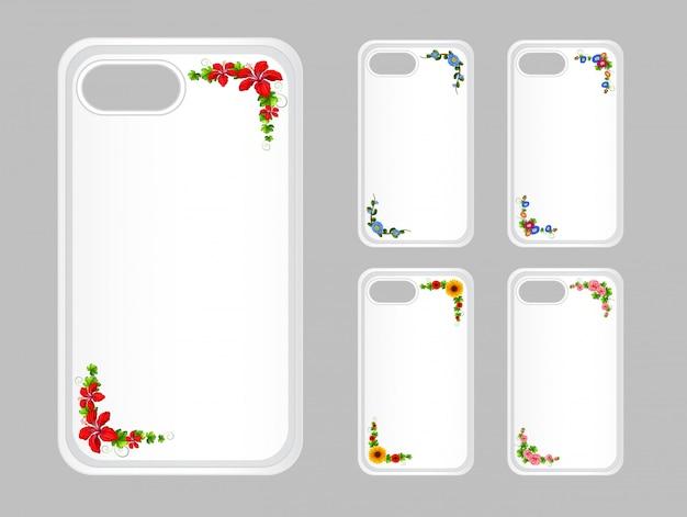 Caja del teléfono móvil con flores de colores
