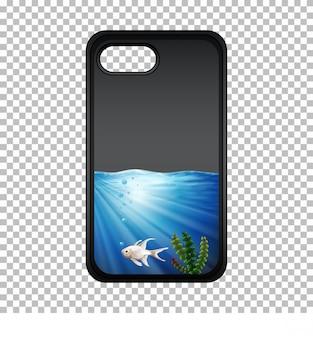 Caja del teléfono móvil con peces bajo el agua