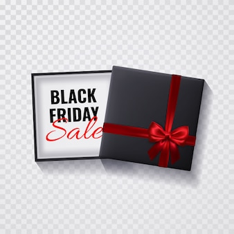 Caja de venta de viernes negro sobre fondo transparente