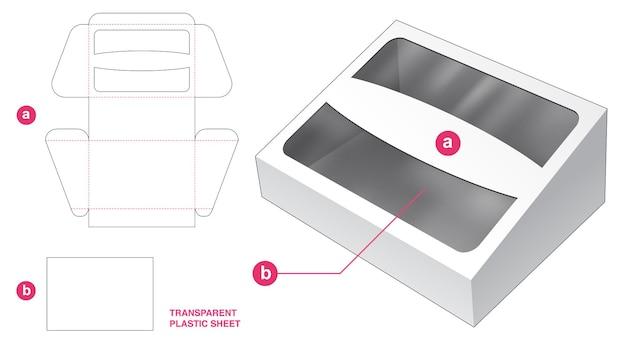 Caja y ventana abatibles inclinadas con plantilla troquelada de hoja de plástico transparente