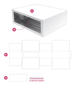 Caja y ventana rectangular con plantilla troquelada de lámina de plástico transparente