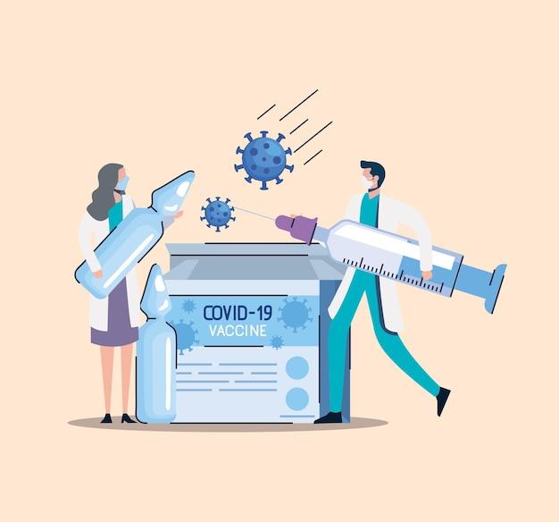 Caja de viales de vacuna con médicos pareja levantando jeringa ilustración