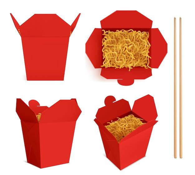 Caja de wok con fideos y palitos