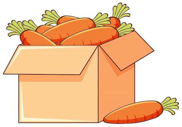 Caja de zanahorias sobre fondo blanco.