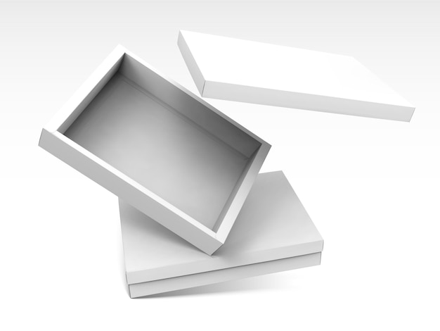 Cajas abiertas en blanco flotando en el aire en la ilustración 3d