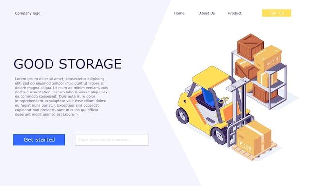 Cajas de almacén logístico isométrico en diseño de plantillas de montacargas