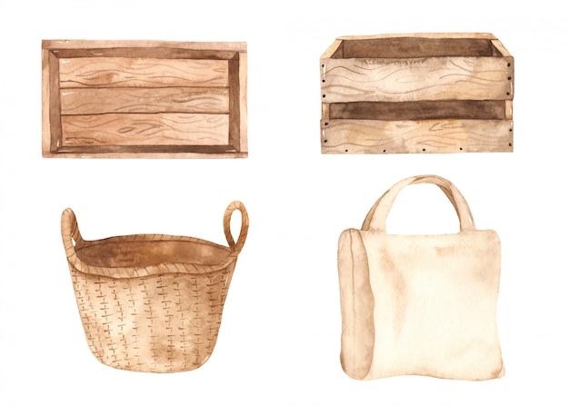 Cajas, canasta y bolsa. contenedores para almacenar frutas y verduras.