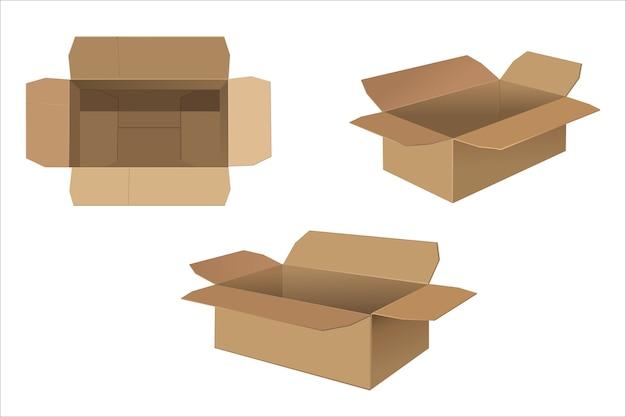 Cajas de cartón abiertas vacías sobre fondo blanco.
