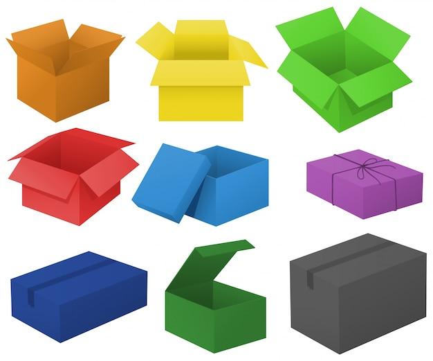 Cajas de cartón en diferentes colores ilustración