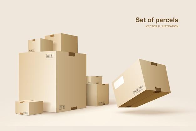 Cajas de cartón para embalaje y transporte de mercancías.