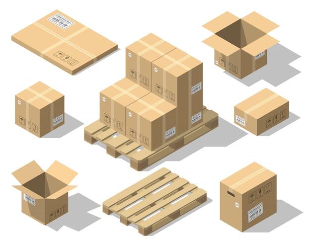 Cajas de cartón y palet de madera.