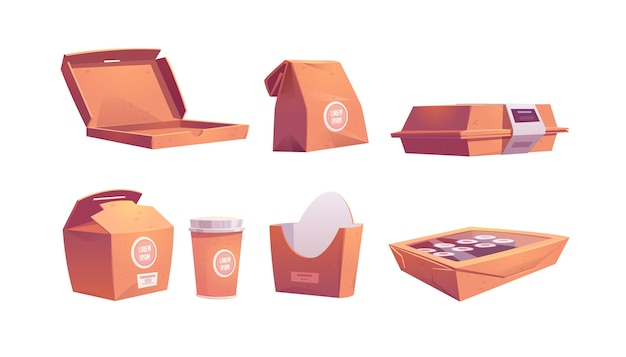 Cajas de comida, bolsas de cartón y vasos, paquetes de papel para llevar desechables para comidas rápidas en cafés, sushi, panecillos, pizza o papas fritas, café y bebidas para llevar. ilustración de dibujos animados, conjunto de iconos