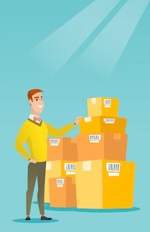 Cajas de comprobación del hombre de negocios en almacén.