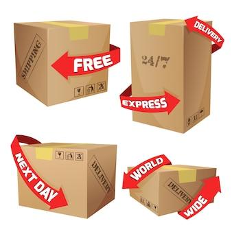Cajas con símbolos de entrega
