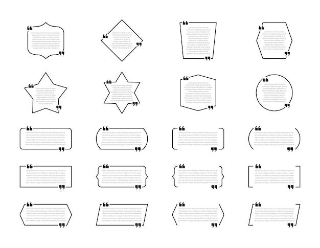 Cajas de cotización. burbujas de diálogo, marcos en blanco para citas