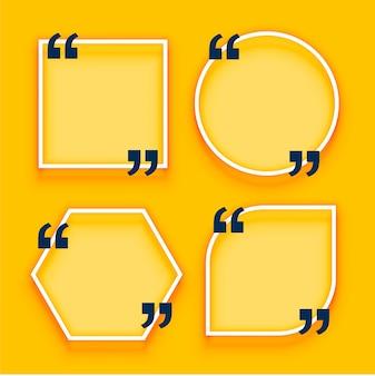 Cajas de cotización geométricas sobre fondo amarillo