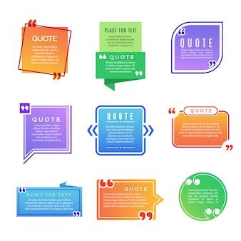 Cajas de cotizaciones. el párrafo marca el conjunto de plantillas de vectores de formas de comentarios