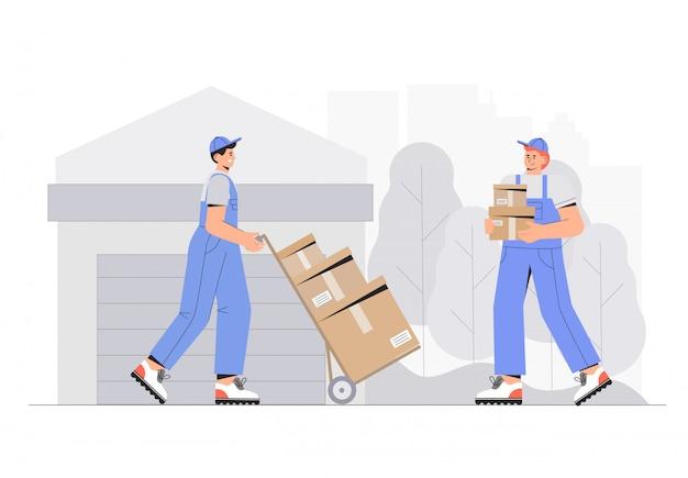 Cajas de descarga de personajes de trabajadores de almacén. ilustración de vector de estilo plano.