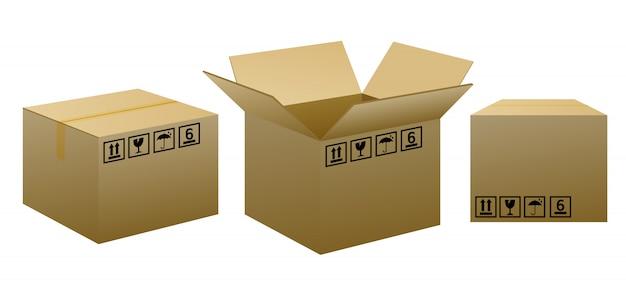 Cajas de embalaje marrón con señales de advertencia.
