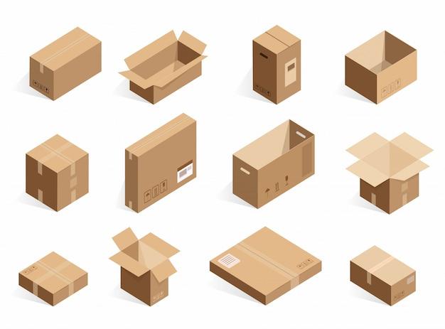 Cajas de entrega de cartón isométricas realistas. cuadro logístico abierto, cerrado en el fondo blanco.