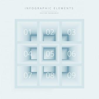 Cajas infográficas con números