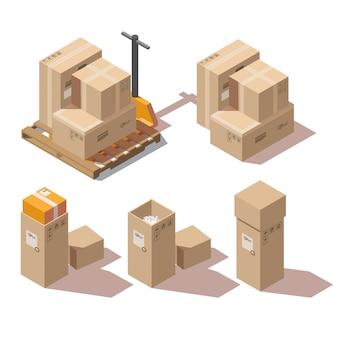 Cajas isométricas de cartón y transpaleta manual.