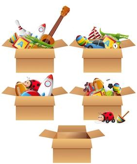 Cajas llenas de juguetes
