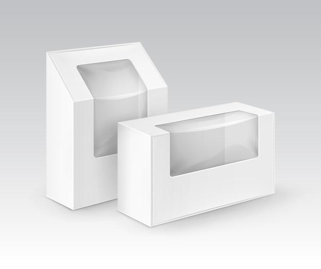 Cajas para llevar del rectángulo en blanco blanco de la cartulina que empaquetan para el bocadillo