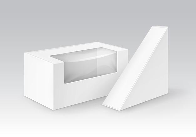 Cajas para llevar del triángulo del rectángulo de la cartulina en blanco blanco que empaqueta para el bocadillo