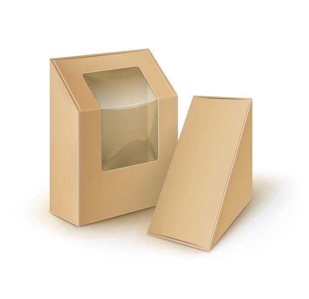 Cajas para llevar del triángulo del rectángulo de la cartulina en blanco de brown que empaquetan para el bocadillo