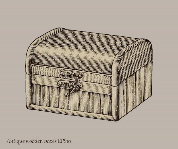 Cajas de madera antiguas dibujo a mano estilo de grabado