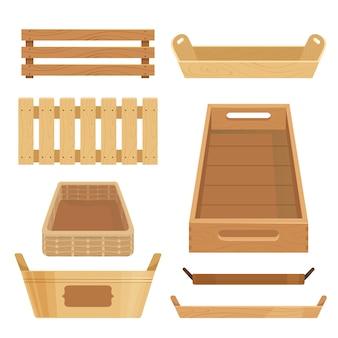 Cajas de madera, posavasos y contenedores para guardar artículos.