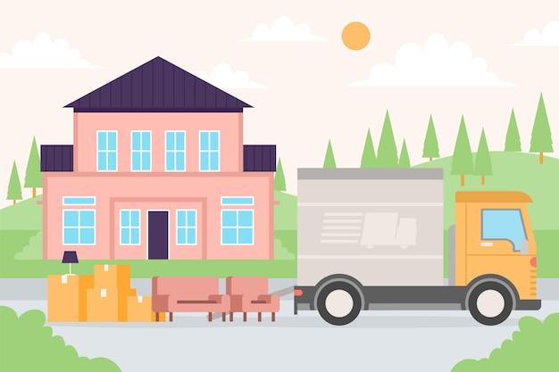 Cajas y muebles junto al transporte en movimiento